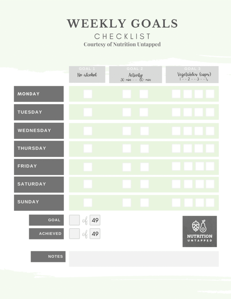 Weekly goals by day with check boxes