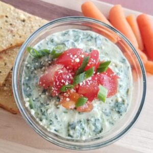 Keto spinach artichoke dip with diced tomatoes