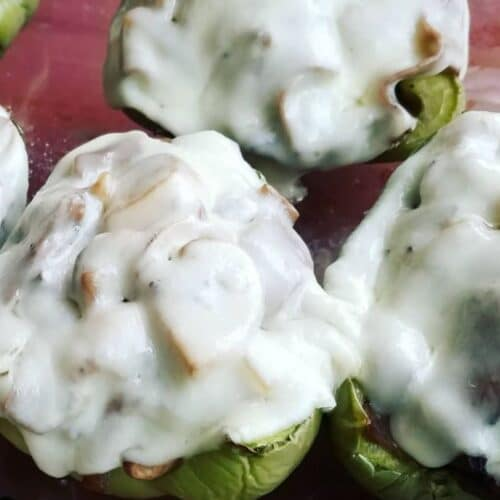 Stuffed green peppers with roast beef and provolone cheese