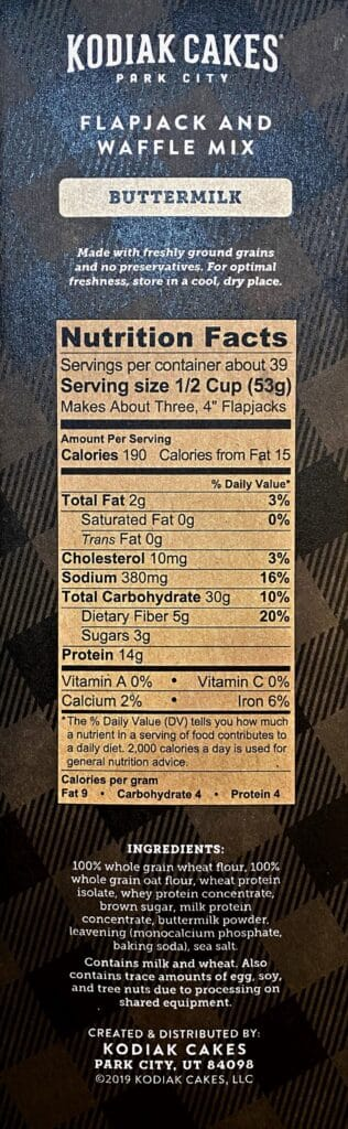Kodiak Cakes Power Cakes nutrition facts panel