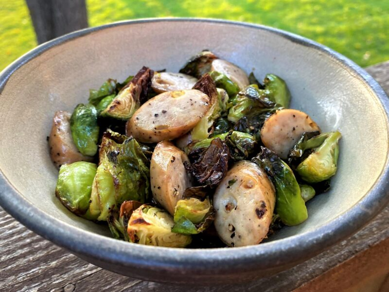 Chicken sausage in air fryer with brussels sprouts