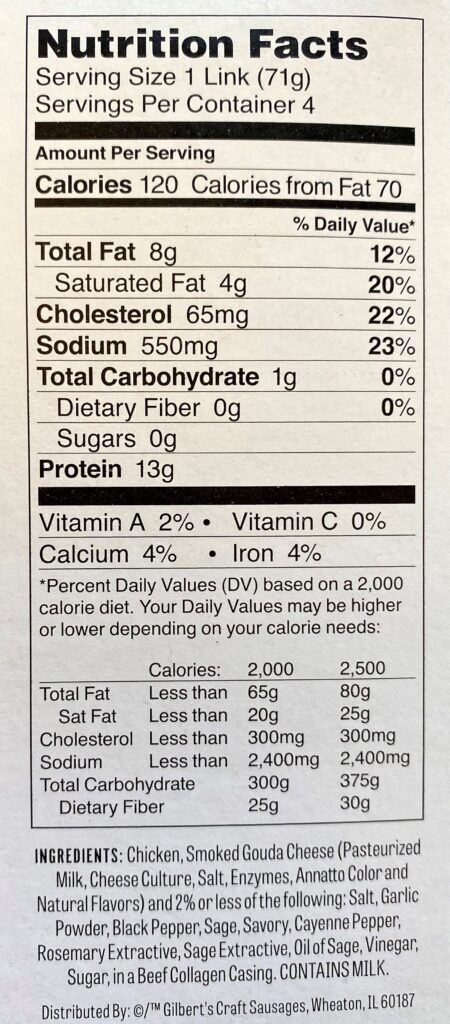 Gilberts smoked gouda chicken sausage nutrition facts