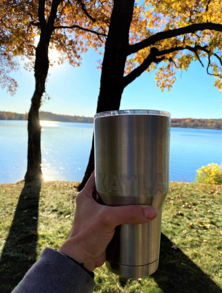 Minnesota mule in insulated mug with lake in background