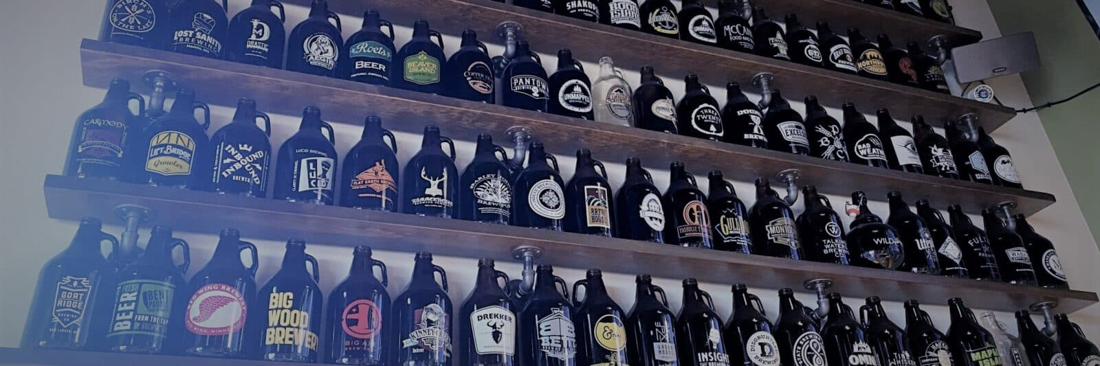 Growler wall at Jack Pine Brewery, MN